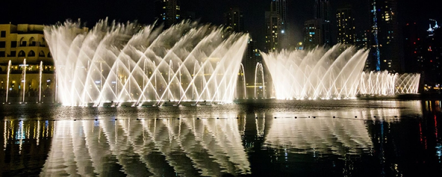 Dubai Fountain at night time